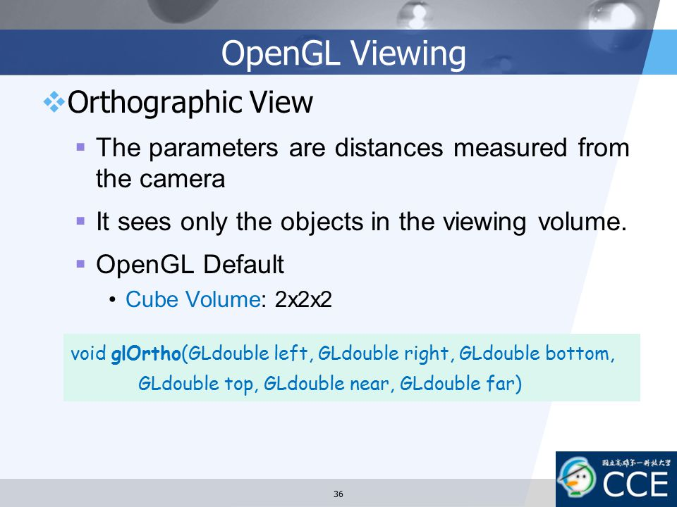 OpenGL Viewing Orthographic View