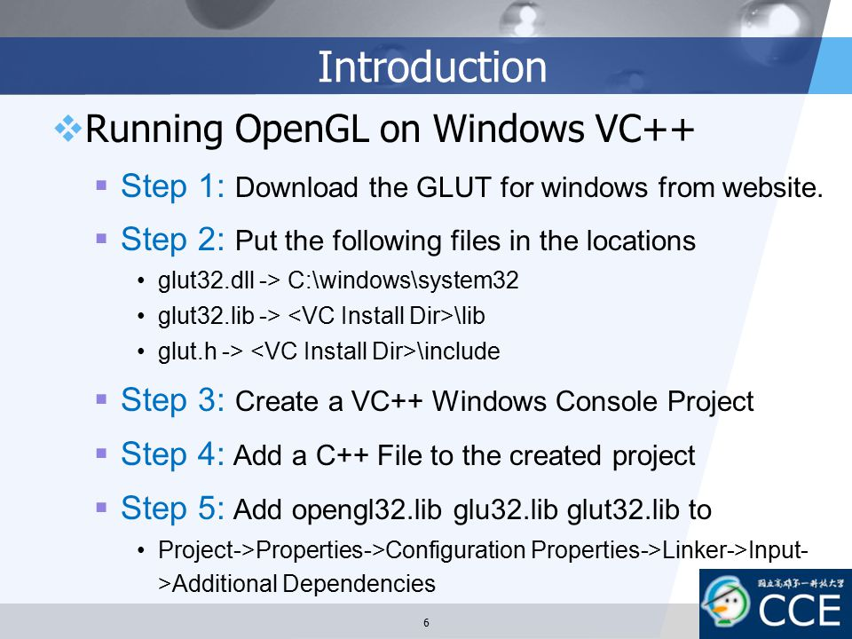 Introduction Running OpenGL on Windows VC++