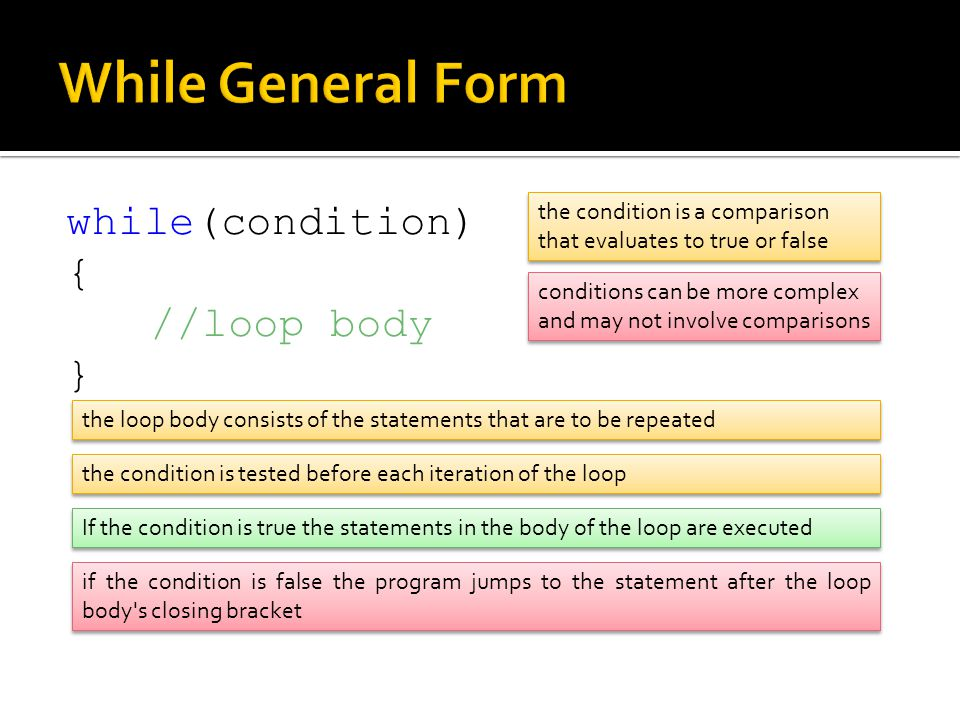 While General Form while(condition) { //loop body }