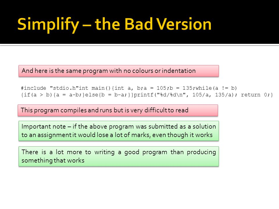 Simplify – the Bad Version