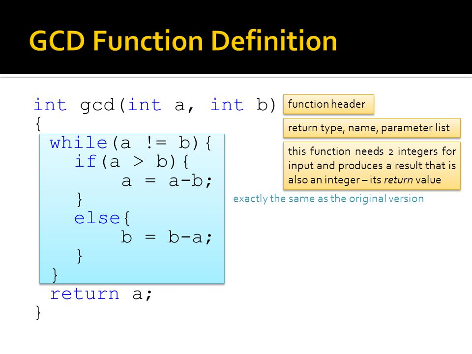 GCD Function Definition
