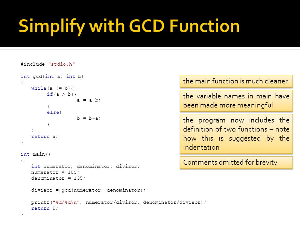 Simplify with GCD Function