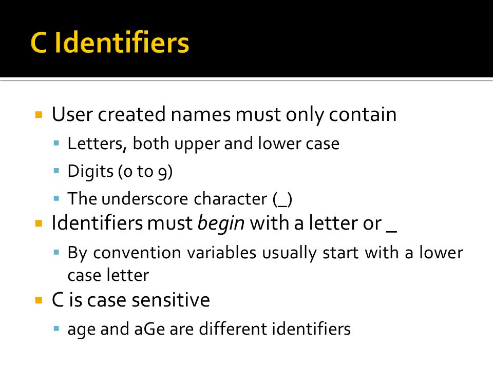 C Identifiers User created names must only contain
