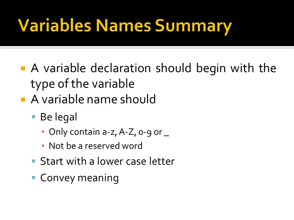 Variables Names Summary