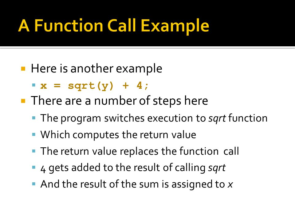 A Function Call Example