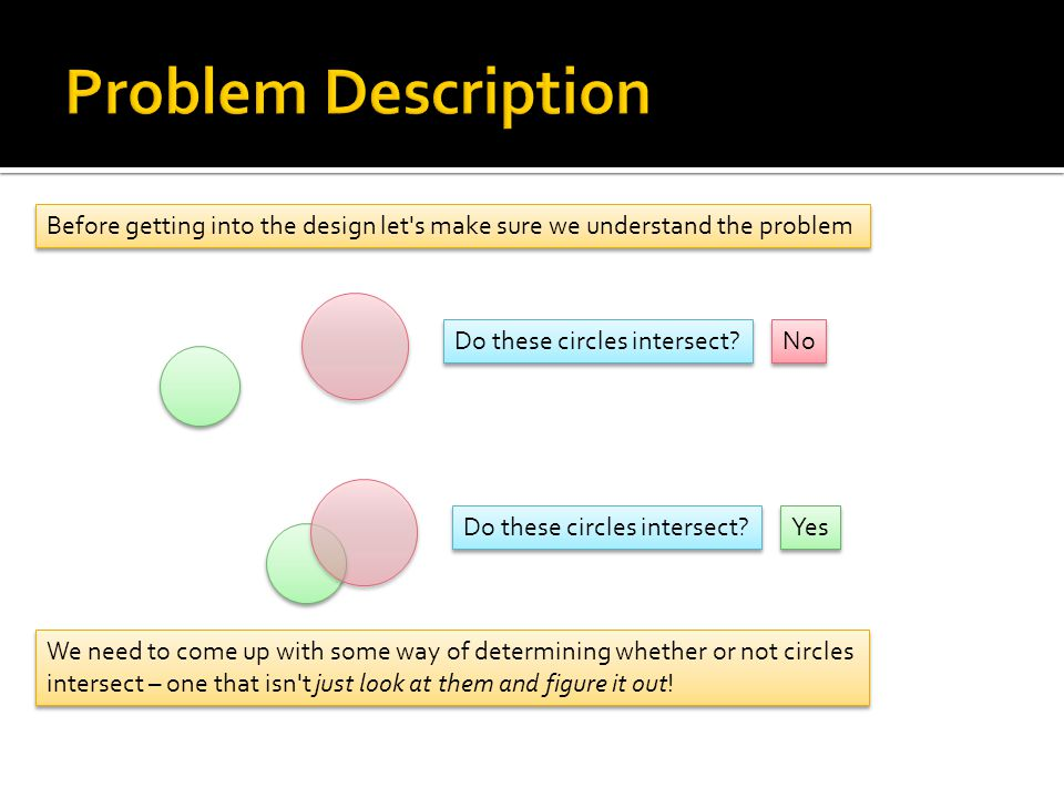 Problem Description Before getting into the design let s make sure we understand the problem. Do these circles intersect