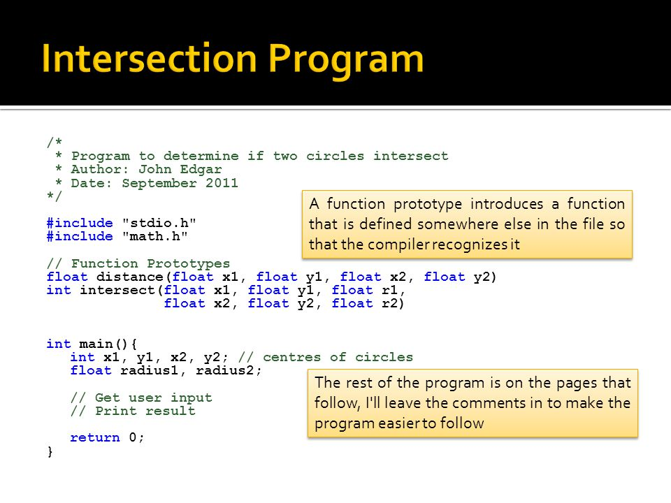 Intersection Program