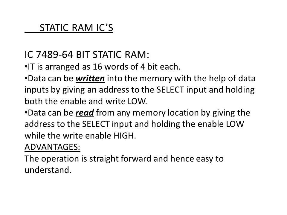 STATIC RAM IC'S IC 7489-64 BIT STATIC RAM: