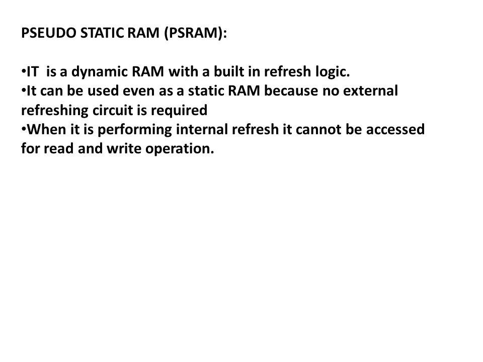 PSEUDO STATIC RAM (PSRAM):