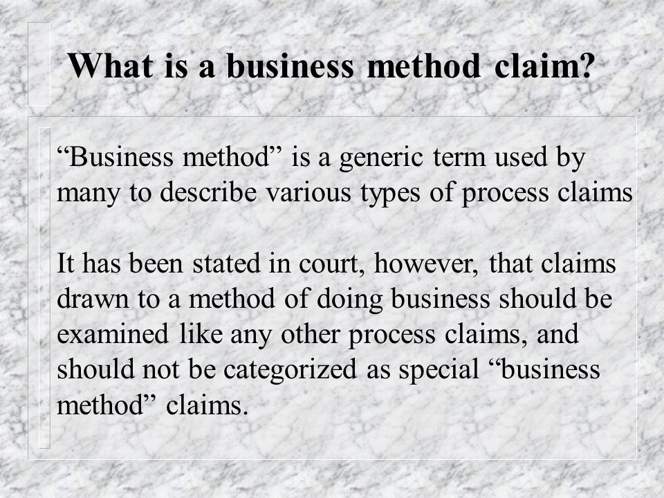 What is a business method claim