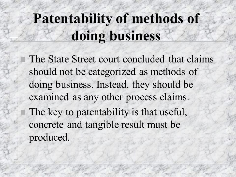Patentability of methods of doing business