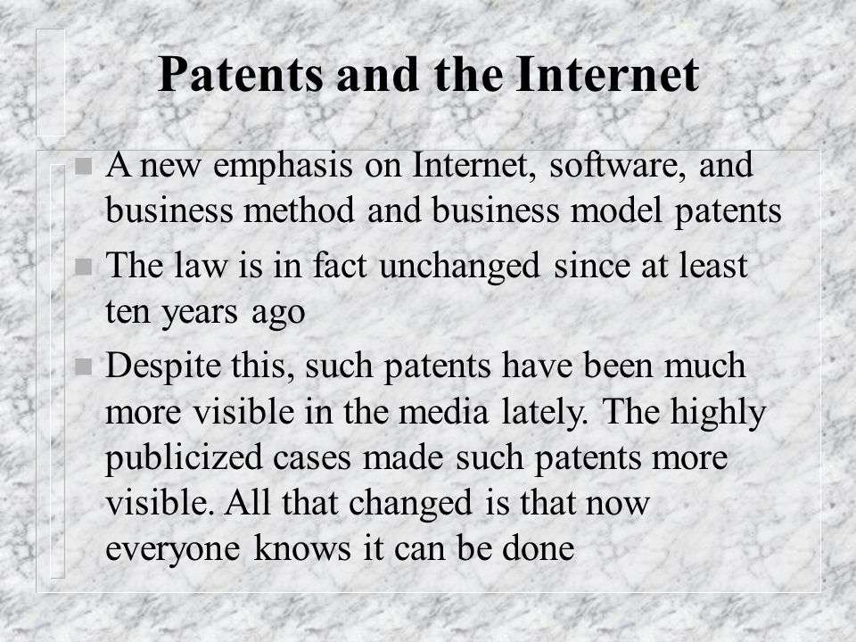 Patents and the Internet