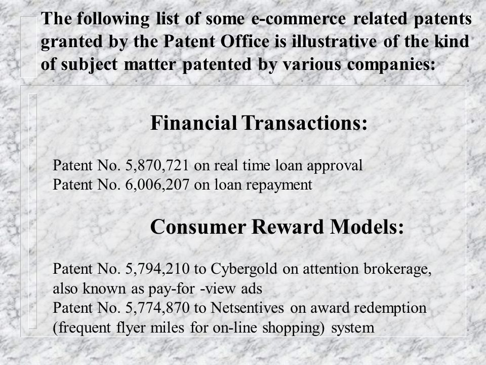 The following list of some e-commerce related patents