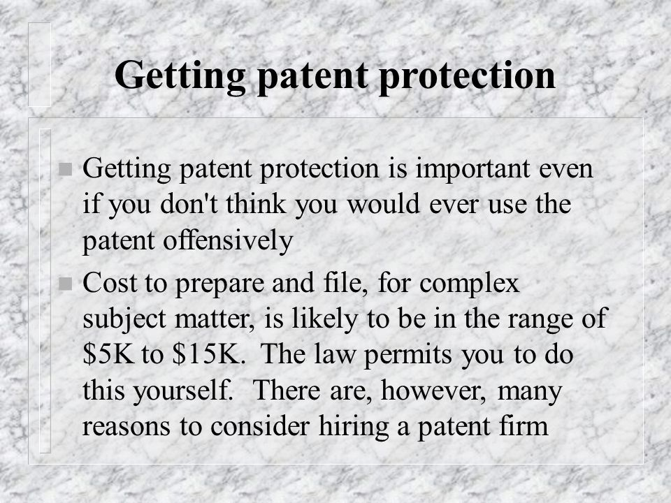 Getting patent protection