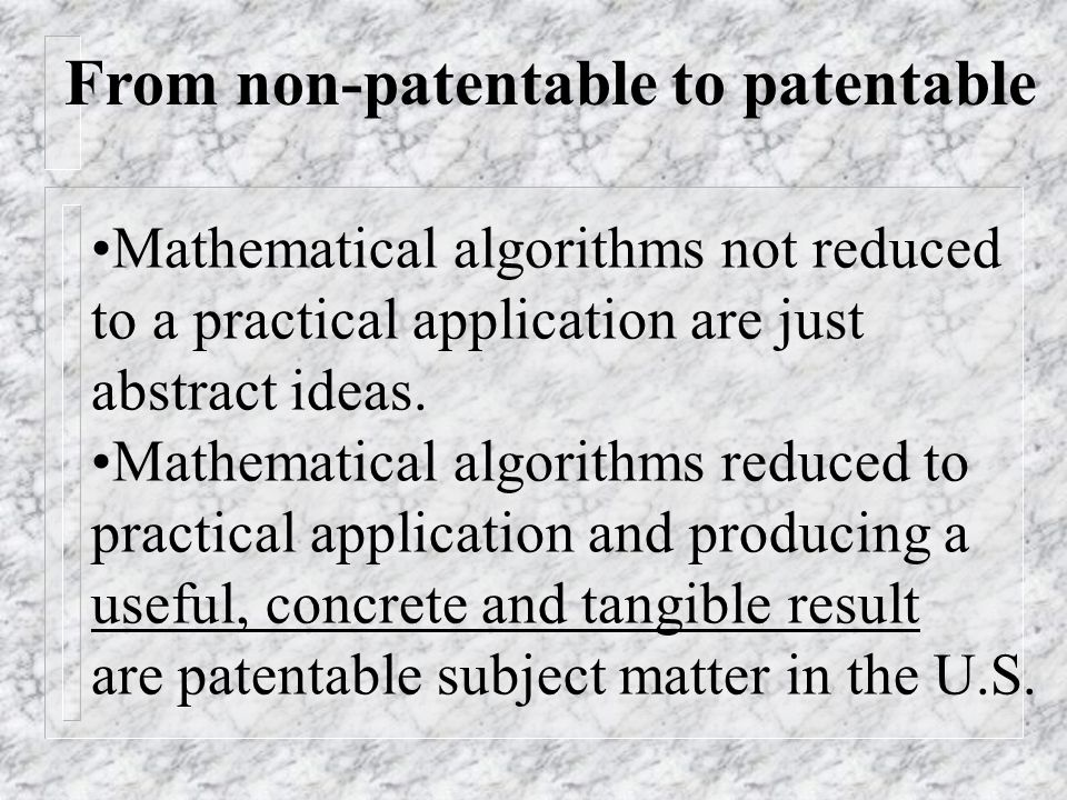 From non-patentable to patentable