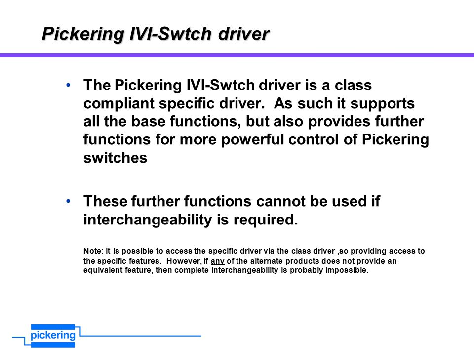 Pickering IVI-Swtch driver