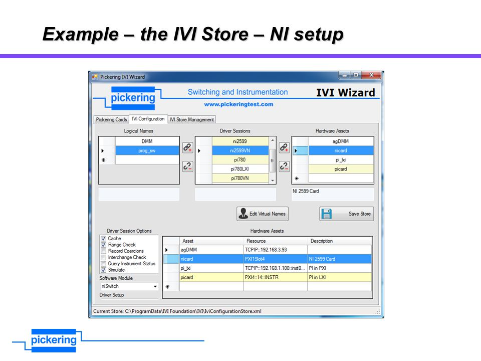 Example – the IVI Store – NI setup