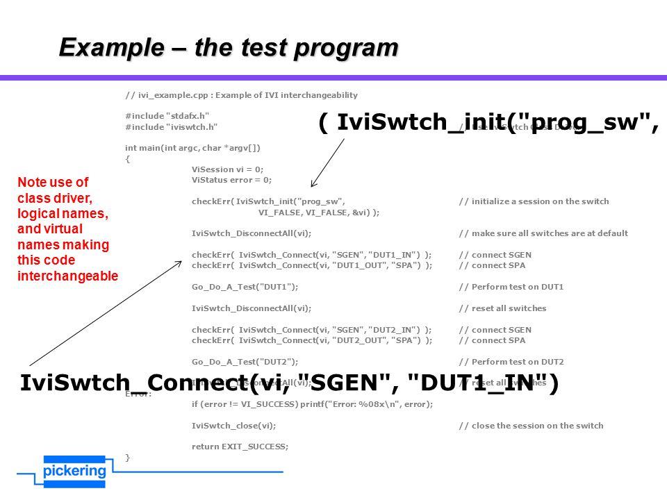 Example – the test program