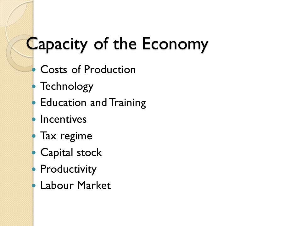 Capacity of the Economy