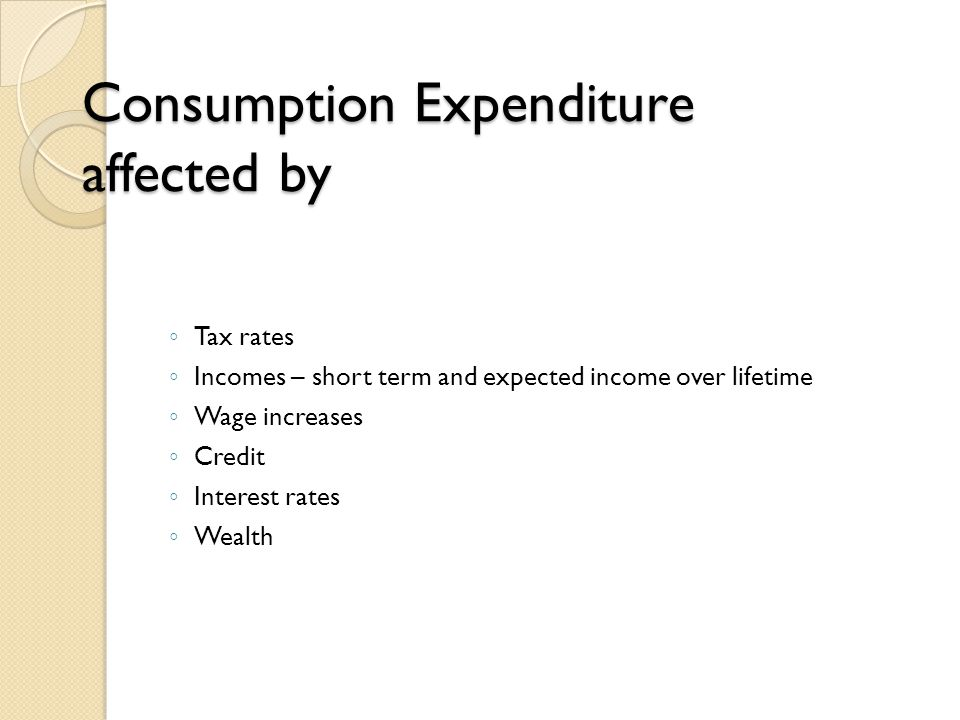 Consumption Expenditure affected by