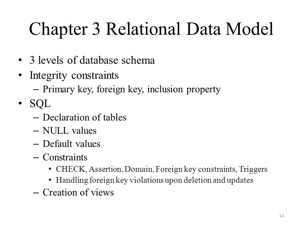 Chapter 3 Relational Data Model