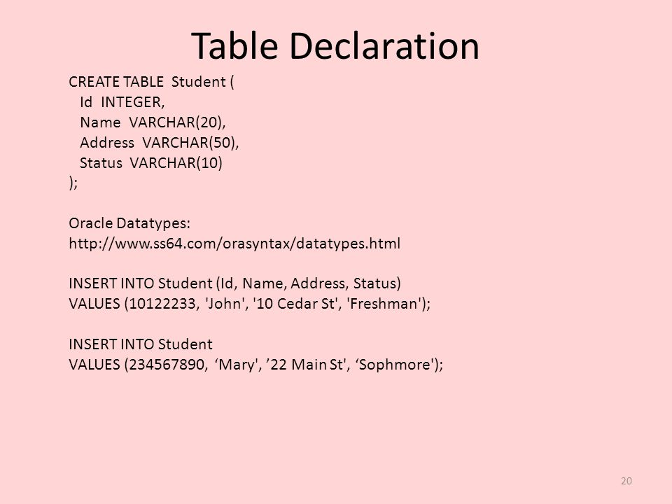 Table Declaration CREATE TABLE Student ( Id INTEGER, Name VARCHAR(20),