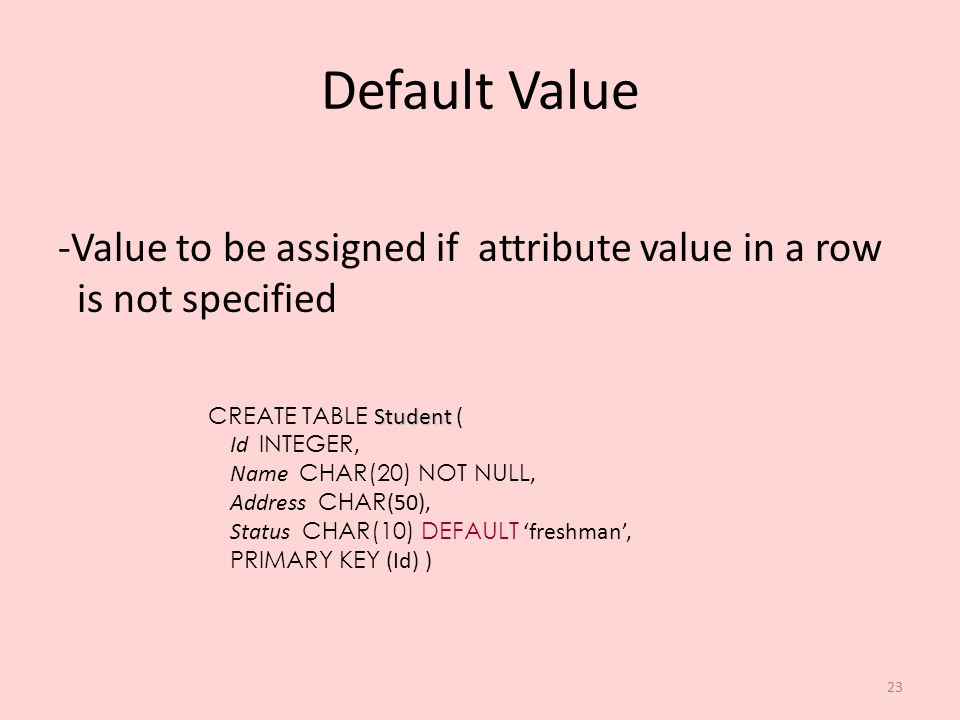Default Value Value to be assigned if attribute value in a row