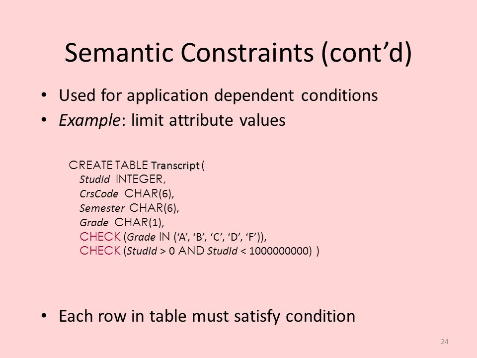 Semantic Constraints (cont'd)