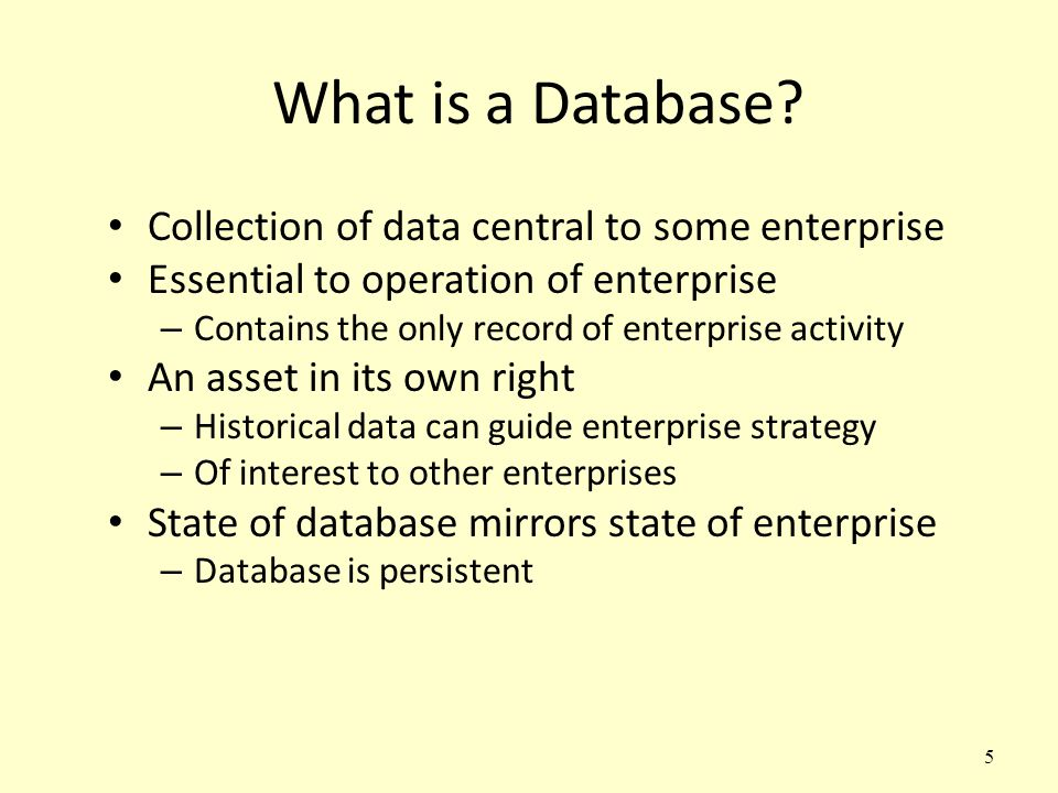 What is a Database Collection of data central to some enterprise