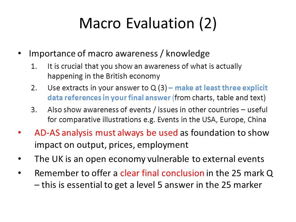 Macro Evaluation (2) Importance of macro awareness / knowledge