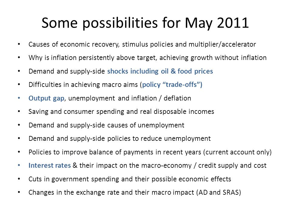 Some possibilities for May 2011