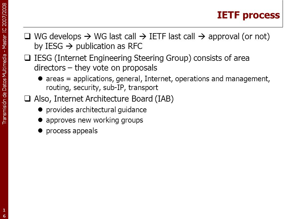 IETF process WG develops  WG last call  IETF last call  approval (or not) by IESG  publication as RFC.
