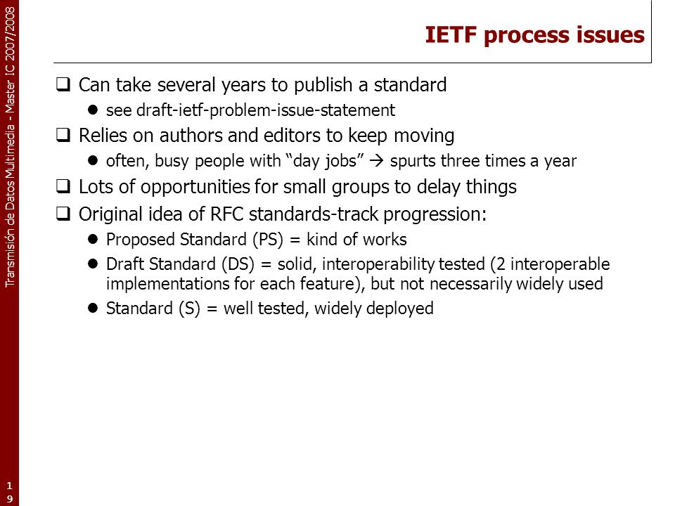 IETF process issues Can take several years to publish a standard