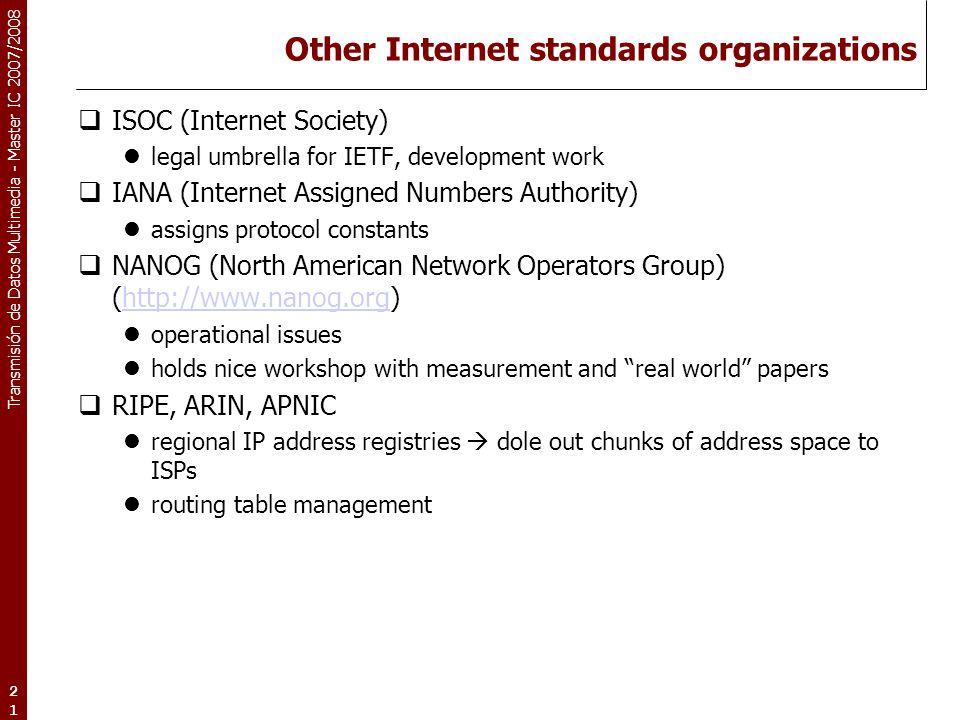 Other Internet standards organizations