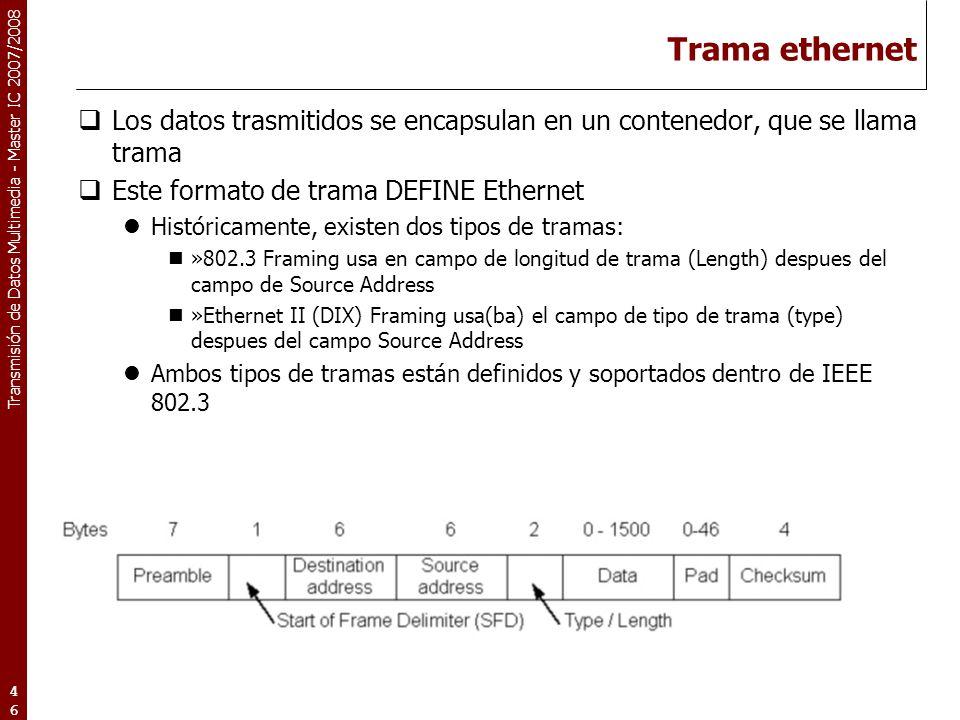 Trama ethernet Los datos trasmitidos se encapsulan en un contenedor, que se llama trama. Este formato de trama DEFINE Ethernet.