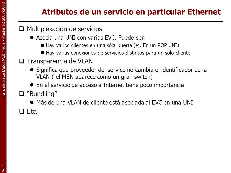 Atributos de un servicio en particular Ethernet
