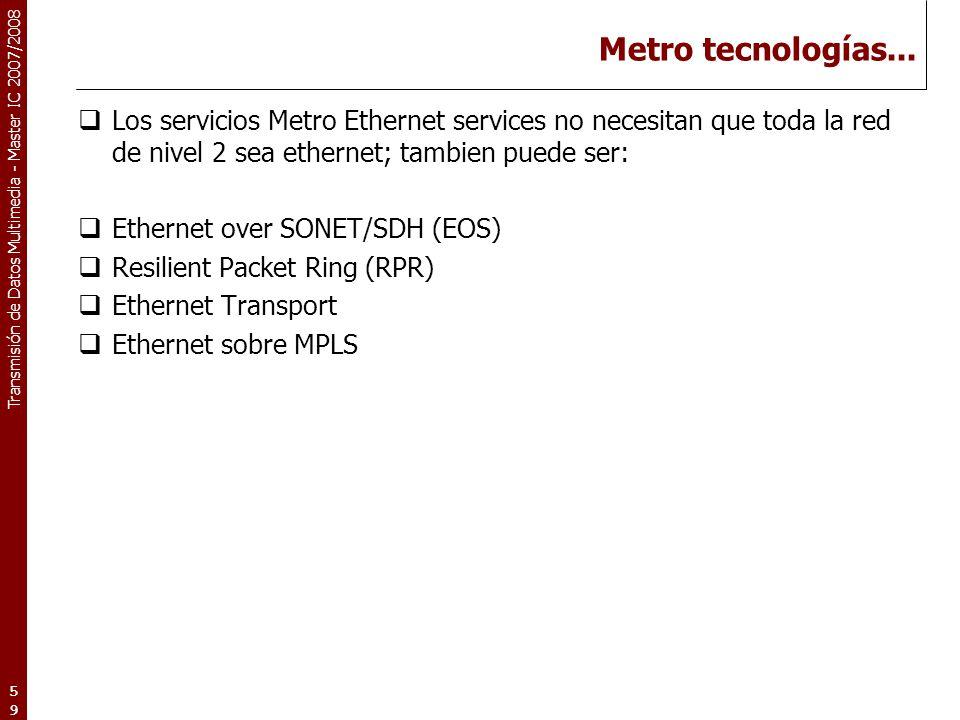 Metro tecnologías... Los servicios Metro Ethernet services no necesitan que toda la red de nivel 2 sea ethernet; tambien puede ser: