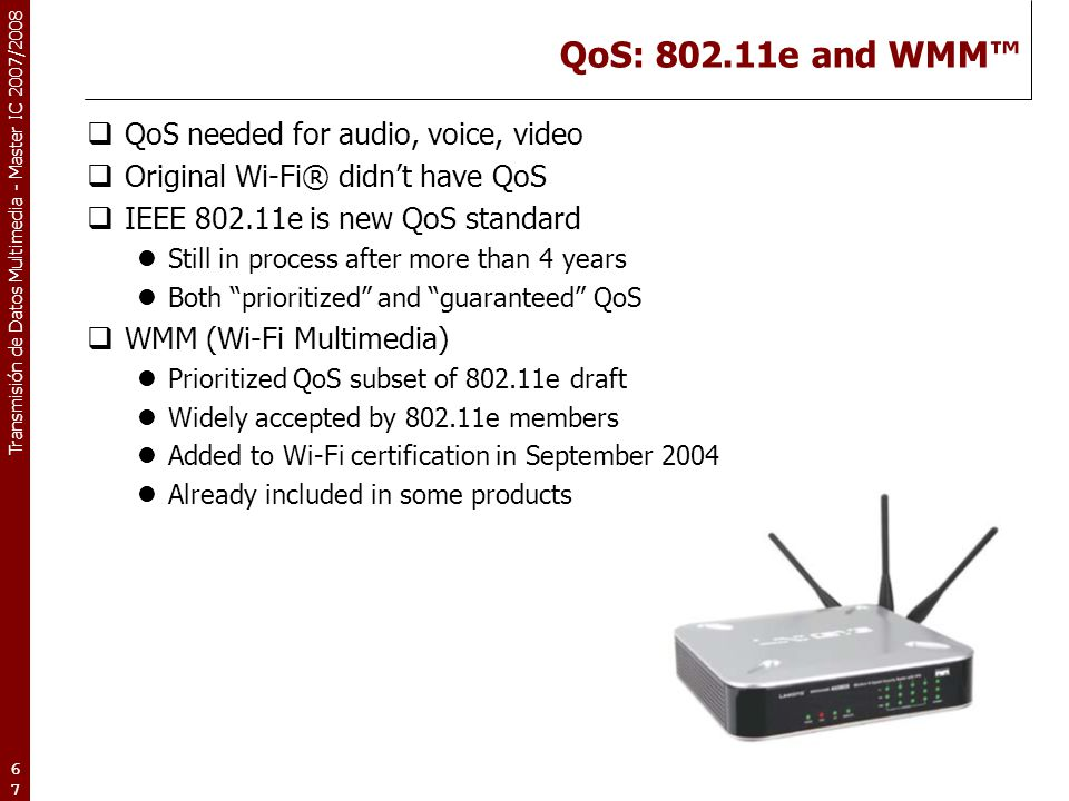 QoS: 802.11e and WMM™ QoS needed for audio, voice, video
