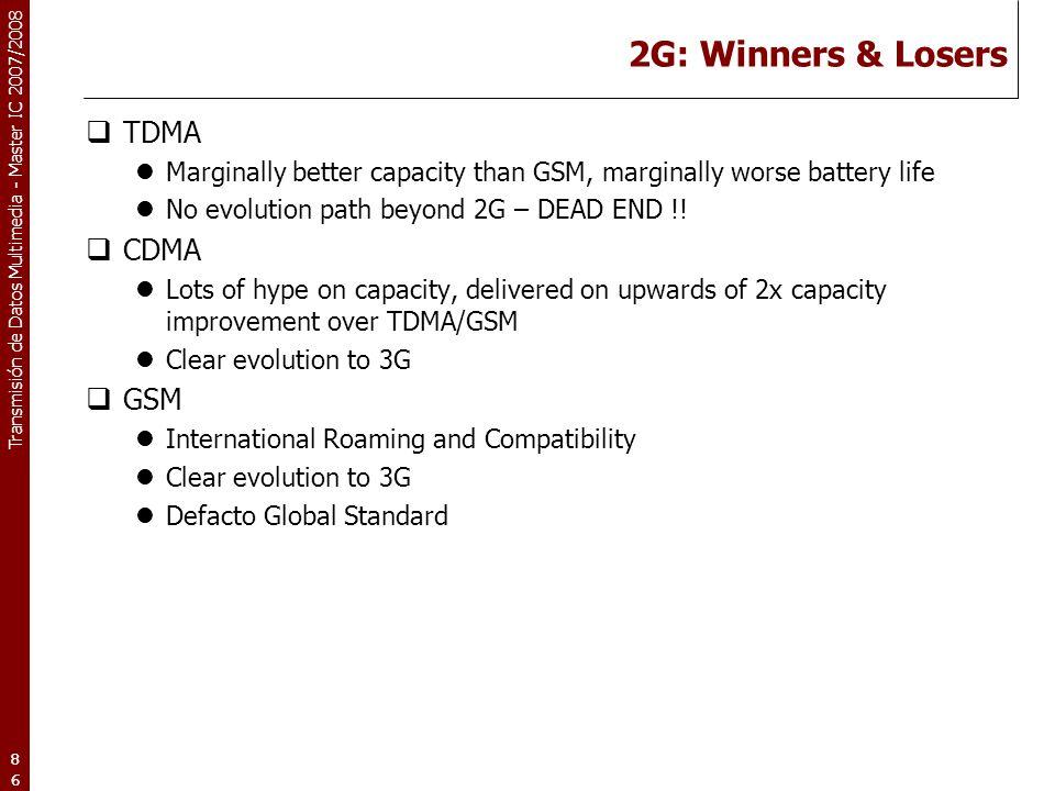 2G: Winners & Losers TDMA CDMA GSM