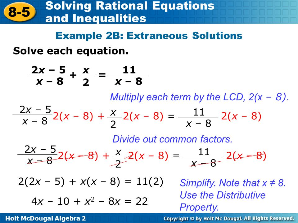 Example 2B: Extraneous Solutions