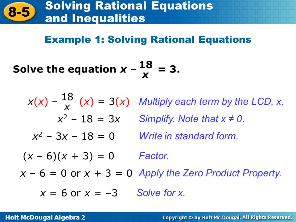 Example 1: Solving Rational Equations