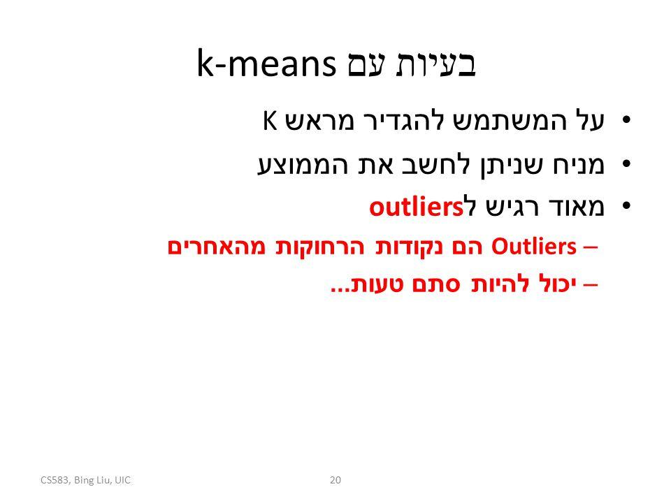 בעיות עם k-means על המשתמש להגדיר מראש K מניח שניתן לחשב את הממוצע