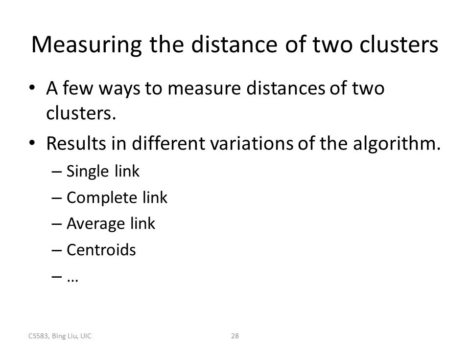 Measuring the distance of two clusters