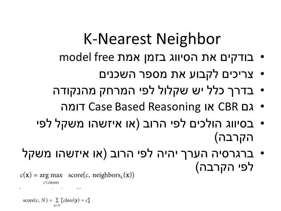 K-Nearest Neighbor בודקים את הסיווג בזמן אמת model free