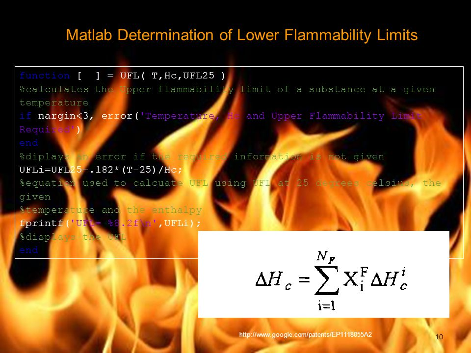 Matlab Determination of Lower Flammability Limits