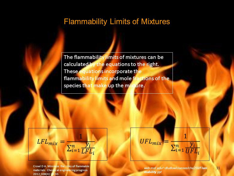 Flammability Limits of Mixtures
