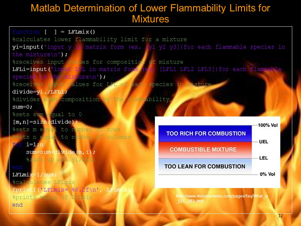 Matlab Determination of Lower Flammability Limits for Mixtures