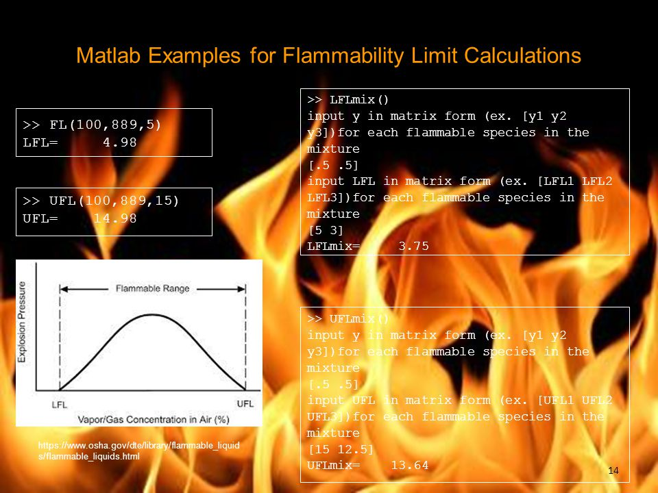 Matlab Examples for Flammability Limit Calculations