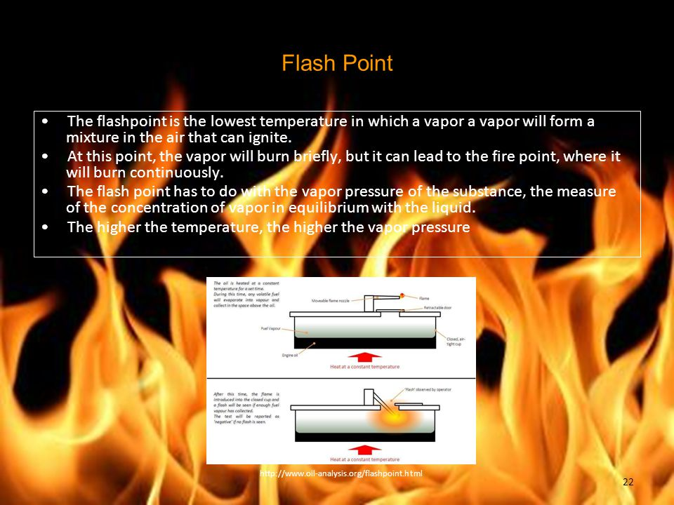 Flash Point The flashpoint is the lowest temperature in which a vapor a vapor will form a mixture in the air that can ignite.