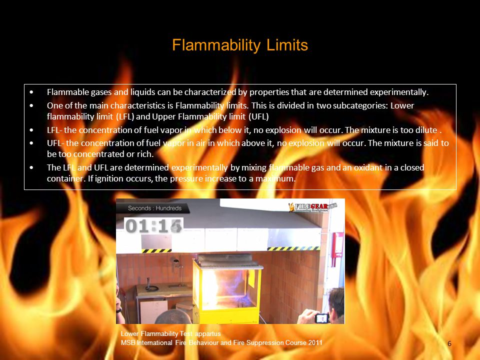 Flammability Limits Flammable gases and liquids can be characterized by properties that are determined experimentally.